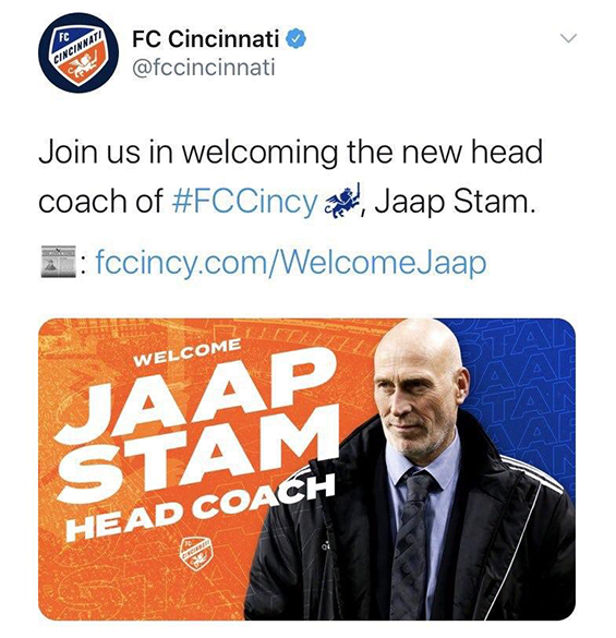 FC Cincinnati posted a picture of the wrong coach