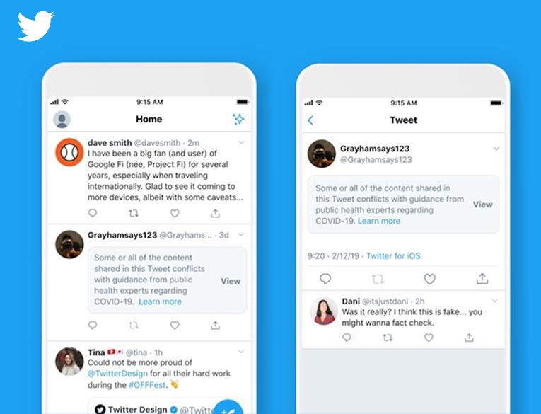 Twitter will put warning messages on coronavirus misleading content