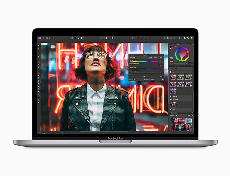 The 13-inch MacBook Pro delivers up to 80 percent faster graphics performance for 4K video editing