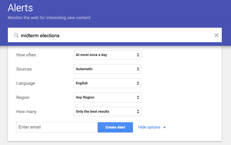 Google Alerts options