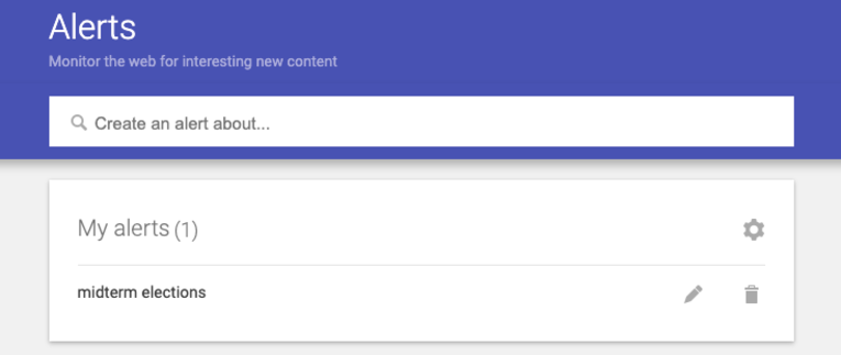 Google Alerts settings