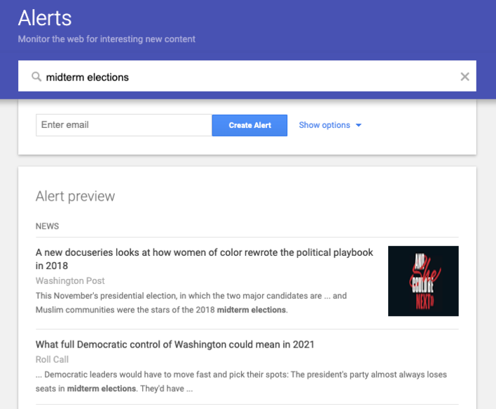 Preview of Google Alerts