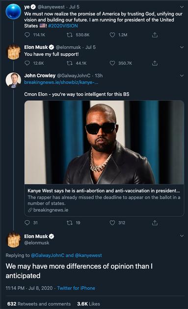 Musk no longer supports Kanye West