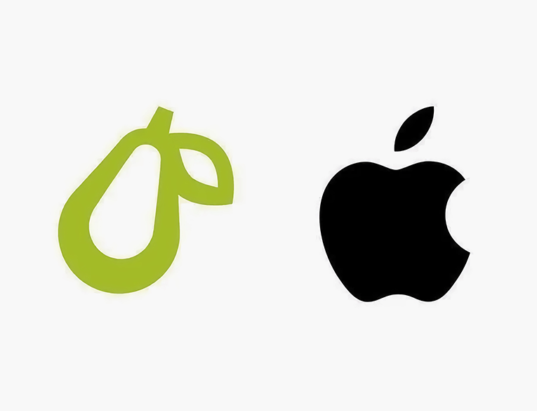 Prepear's logo on the left vs. Apple's logo on the right