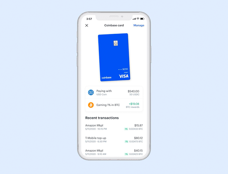 The Coinbase Card in an app