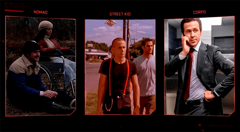 Cyberpunk 2077 lifepath selection screen with Ryan Gosling
