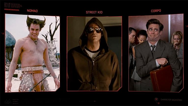 Cyberpunk 2077 lifepath selection screen with Jim Carrey