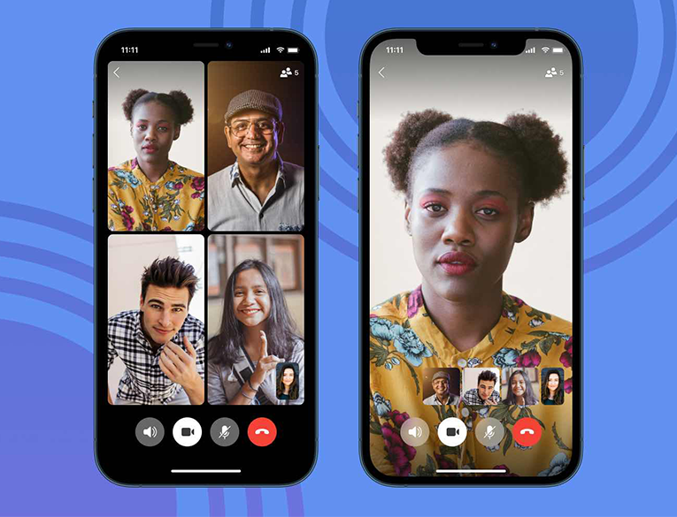 The grid view of Signal video calls