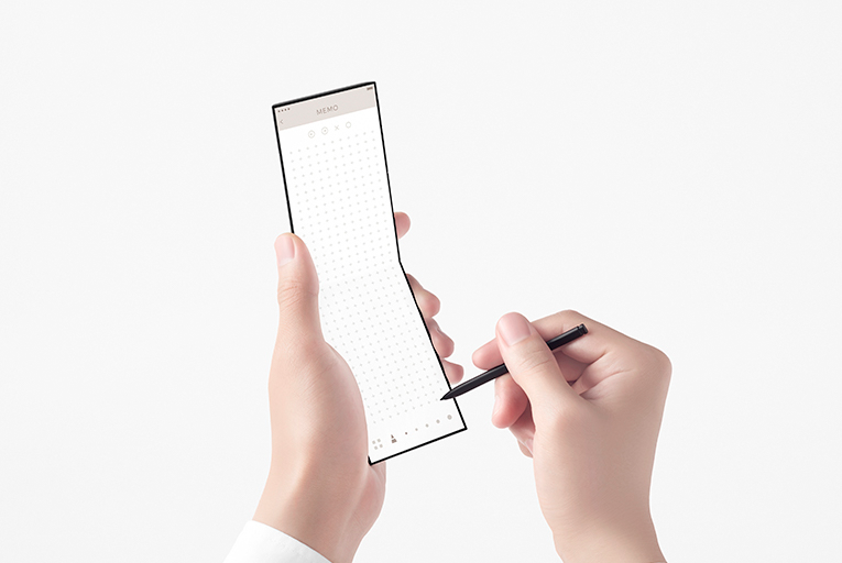 The conceptual design slide-phone with the stylus