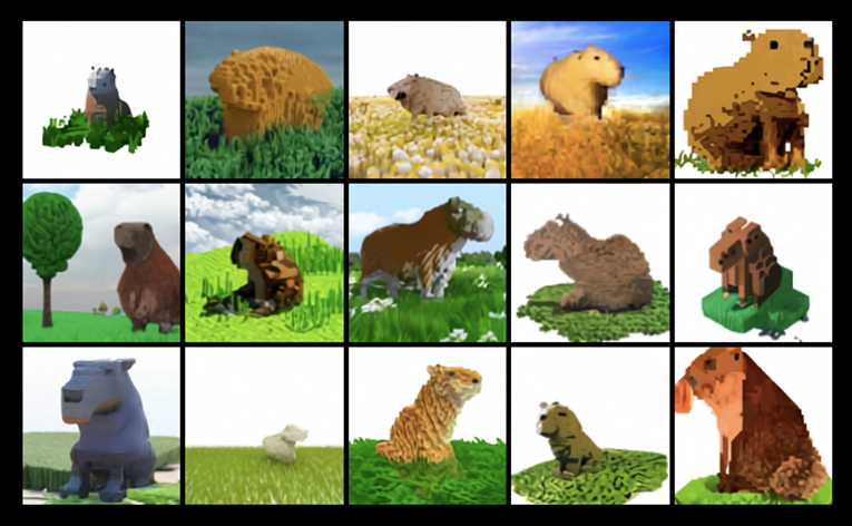 A capybara made of voxels sitting in a field