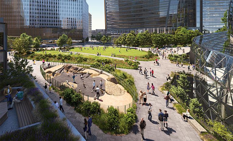 A render of Amazon's Arlington headquarters park