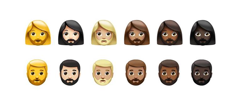 Emojis with various beard options