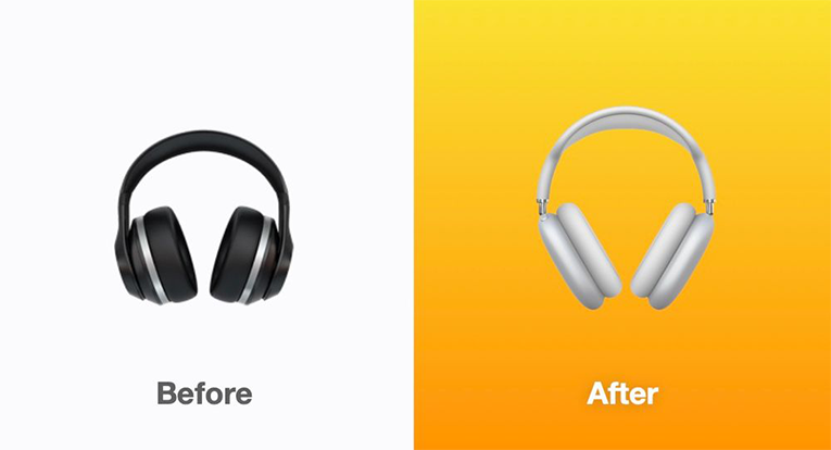 The new headphone emoji resembles Apple AirPods Max