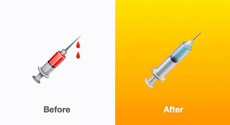 The updated syringe emoji
