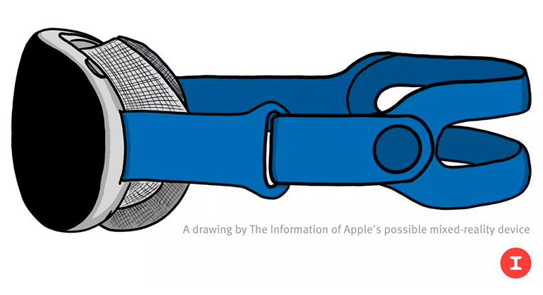 A rendering based on an internal Apple image of a late-stage prototype of the headset