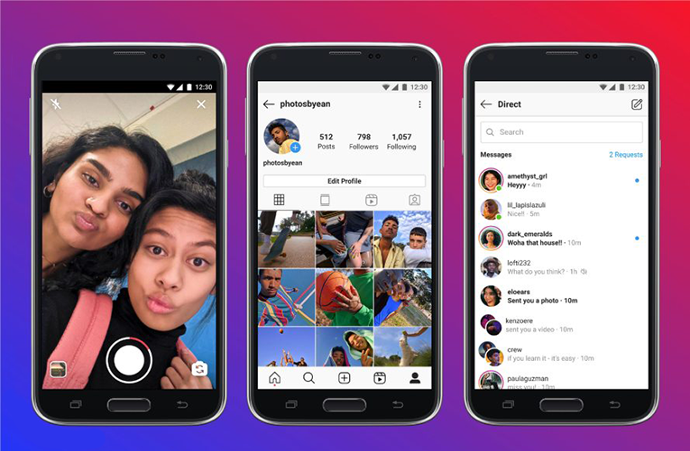 The interface of the Instagram Lite app