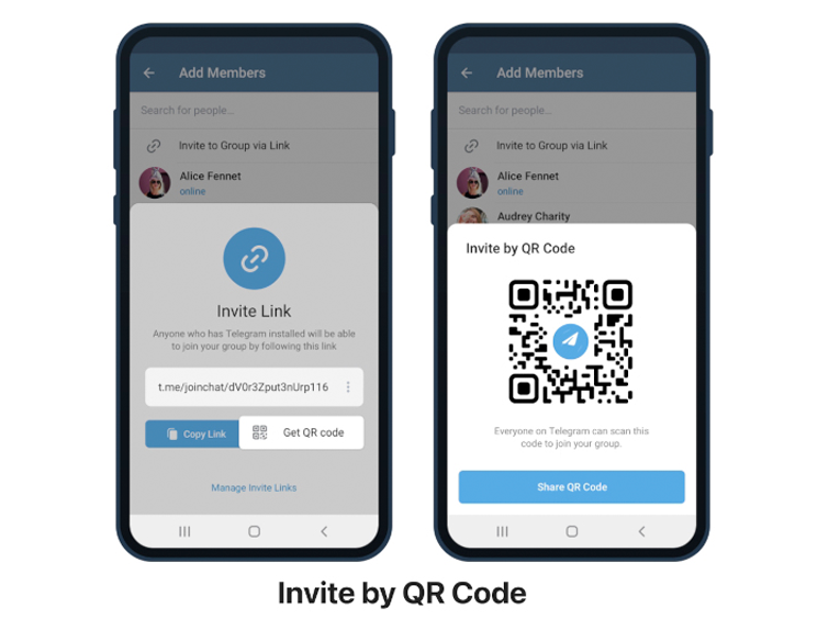Invite links converted into QR codes