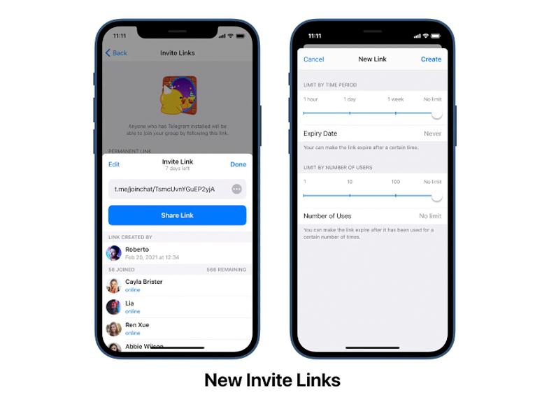 New invite links in Telegram