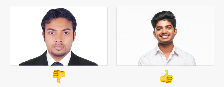 A passport photo and a less formal photo
