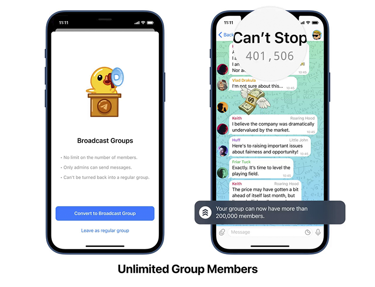 Unlimited number of users in Telegram Broadcast Groups