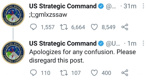 A cryptic tweet from the US Strategic Command
