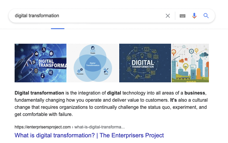Google Search query for digital transformation